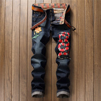 Wholesale Trouser Style For Mens - Wholesale- Brand Designer Mens Jogger Jeans With Embroidery Slim Fit Washed Denim Pants For Male Snake And Flower Patchwork Jean Trousers