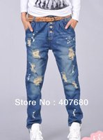 Wholesale Womens Drop Crotch Pants - Wholesale- Big discount Womens fashion casual loose hole ripped painted vintage Harem jeans drop crotch Baggy pants