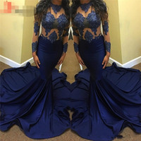 Wholesale Evening Dreses Sleeves - Navy Blue Evening Dresses 2017 Jewel Neck Long Sleeve Zipper Satin and Lace Long Applique Prom Dreses Formal Gowns Vestido De Renda