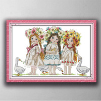 Wholesale Young girls kid angel baby Gracious style Cross Stitch Needlework Sets Embroidery kits paintings counted printed on canvas DMC CT CT