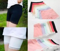 Wholesale chinese fashion wholesale - girls cotton short leggings summer fashion lace short leggings for girls lace safety pants shorts baby girl short tights A001