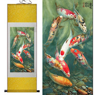 Wholesale Wall Paint Fish - Fish painting Silk scroll paintings traditional art Chinese painting Feng shui Wall Art Scroll Hang Picture