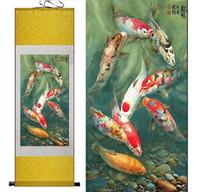 ingrosso muro arte cinese appeso scorrimento-Pittura di pesce Pittura a pergamena di seta arte tradizionale Pittura cinese Feng shui Wall Art Scroll Hang Immagine