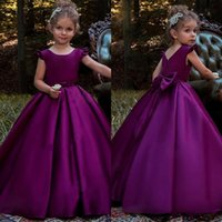 Wholesale Toddler Ruffle Shirts - New Purple Satin Flower Girl Dresses Bow Back Princess Birthday Party Gowns Toddler 2018 Little Girls Pageant Dress First Communion Dresses