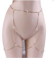 mujer belleza cuerpos sexy al por mayor-Cadena sexy del cuerpo completo brillante Rhinestones CZ diamantes belleza encantadora pierna joyería plata oro mujeres cadenas del vientre