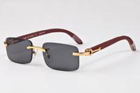 qualidade de óculos de sol de bambu venda por atacado-2017 top quality marca óculos de búfalo chifre óculos para mulheres dos homens de madeira de bambu óculos de sol sem aro marrom claro espelho retangular lente