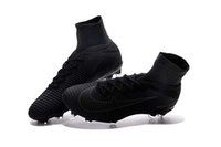 Wholesale Football Height - 2018 Full Black Soccer Cleats 100% Original Mercurial Superfly V FG Soccer Shoes Top Quality Magista Obra ACC Mens Football Boots