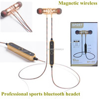 Wholesale Earphones Mic Bass - 2017 New Bluetooth Headphones Wireless Earphone Magnetic Earphones Headphone Metal Headsets Super Bass Stereo Earbuds With Mic For Phone