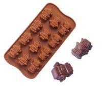 Wholesale Edible Chocolates - Edible silicone baking mold DIY molds handmade chocolate ice cake cake mold 12 even robot silicone chocolate mold