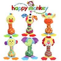 modelos de bebé meses al por mayor-22 cm Venta al por mayor sonajeros Bebé de peluche de juguete campana de mano suave con mordedor Animal modelo infantil 0-12 meses brinquedos WJ251