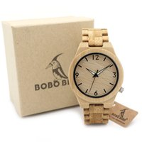 Wholesale Japanese Watches For Men - BOBO BIRD Casual Bamboo Wooden Watch japanese movement wristwatches bamboo wood band watches quartz watch for men women