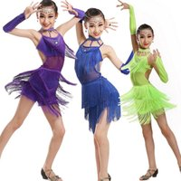 Wholesale Latin Stage Sequin Dancewear - Girls Dancewear Latin Dance Dress for Girls Sequins Tango Ballroom Dance Dresses Kids dacing Dress Stage Performance Costumes Outfits