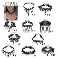 Wholesale Victorian Chokers - 2017 Collares Sexy Gothic Chokers Crystal Black Lace Neck Choker Necklace Vintage Victorian Women Chocker Steampunk Jewelry