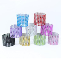 Wholesale bling napkin holders for sale - 8 Row Mesh Bow Covers With Closure Bling Napkin Ring Diamond Serviette Holder Rhinestone Chair Sashes Bows ZA4660