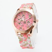 Wholesale Trend Silicone Case - 2017Gold round case printed silk silicone watch fashion trend watch ladies
