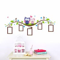 Wholesale Cartoons Photo Frame Design - PVC owls photo frame wall stickers home decoration bedrrom animals wall decals mural art living room cartoon flower vine