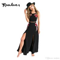 Wholesale Embroider Chiffon Evening Dress - Summer Female Sexy Chiffon Beach Party Dresses Women Casual 2017 Black Sexy Backless Rose Embroidered Bandage Evening Maxi Dress