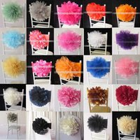 Wholesale chair sashes for sale - 2017 Hot Sale Charming Fantastic Organza Big Flower Lycra Chair Sash Band 100PCS With Free Shipping For Wedding,Party,Hotel Decoration