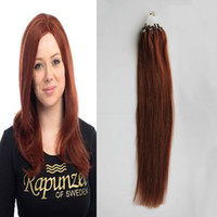 auburn micro loop extensiones de cabello al por mayor-# 33 Dark Auburn Brown Straight Loop Micro Ring Hair 1g / strand 50s / pack 50g 100% Extensiones de cabello humano brasileña 4b Micro Link Hair Extension