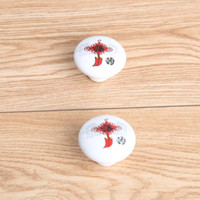 perillas del gabinete de cerámica roja al por mayor-38mm beautyful nudo chino perillas de cerámica blanco rojo de cerámica cajón gabinete perillas tira niños habitación muebles niños perillas tira