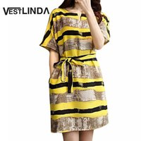 Wholesale Club Stripper Dress - Wholesale- VESTLINDA 2017 Style Summer Sundress Woman Loose Big Yards Yellow Stripper Dress Home Short Sleeve New Casual Dresses with Belt