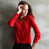 Wholesale Black Button Down Work Shirt - Fashion Women Shirt Loose Turn-down Collar Long Sleeve Chiffon Ladies Blouse Work Wear Formal Top Plus Size Autumn
