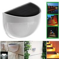 güneş ışığı paketleme toptan satış-6 LEDs Güneş Enerjili Sensör Işık Dış Duvar Lambası Su Geçirmez LED Duvar Işık Bahçe Lambası ABS + PC Kapak Renk Paketi Ev Merdiven Işık