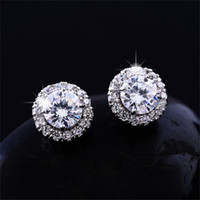 Wholesale big stud earrings for women - New Arrival Best Friends 18K White Gold Plated Earings Big Diamond Earrings for Women White Zircon Earrings