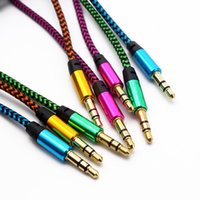 Wholesale Gold Plated Audio Jack - 10pcs 1M 3FT Strong Colorful Braided Fabric 3.5 MM Stereo Jacks Male to Premium Gold Plated Audio Cable AUX Extra Cord For MP3 Car PC iPod