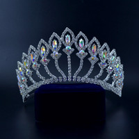 Wholesale beauty pageant accessories - Medium Crowns Tiaras Miss Beauty Pageant Queen Crown Mix Crystal AB Wedding Events Bridal Hair Accessories Headpieces Headband Mo217