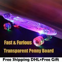Wholesale Longboard Fish - Wholesale- Green Transparent Peny Board Skateboard Complete Retro Cruiser Mini Longboard Skate Fish Long Board skate wheel Pnny Board 22
