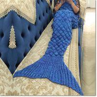 Wholesale Fish Furs - hot mermaid tail blanket sleep bag Scales design snuggle-in cocoon bed fish tail blanket super soft sleep bag wih 9 colors for choose