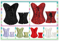 Wholesale Girdles Wholesale - 2017 Hot Sexy Women's Corset Bustier Tops Bra Lace Up Plus Size Boned Waist Cincher Slim Floral Bustier Lingerie girdles Women Clothing