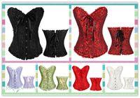 Wholesale Wholesale Blue Black Girdle - 2017 Hot Sexy Women's Corset Bustier Tops Bra Lace Up Plus Size Boned Waist Cincher Slim Floral Bustier Lingerie girdles Women Clothing