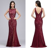 Wholesale Photos Fashion Models - Vintage Full Lace Mermaid Evening Dresses High Split Backless Sheath Formal Evening Gowns Cheap Real Photo Prom Dresses For Women Cps726