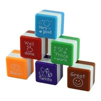 Wholesale Cute Teacher Stamps - Wholesale- Free shipping 6pcs english Teachers Stampers Self Inking Praise Reward Stamps cute cartoon Motivation Sticker School 11-008