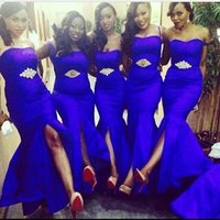 Wholesale Shining Mermaid - Sexy Mermaid Bridesmaid Dresses 2017 Royal Blue Shine Crystal Front Split Bridesmaids Formal Gown New Style Spring Summer Country Dress