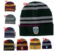 Wholesale Cosplay Hats - Quality Harry Potter Beanie Gryffindor Slytherin Skull Caps Hufflepuff Ravenclaw Cosplay Costume Caps Striped School Winter Fashion Hats