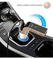 Wholesale Usb Radio Transmitter Car - Original G7 Bluetooth Car Kit Handsfree FM Transmitter Radio MP3 Player 2.1A USB Car Charger & AUX TF Cards Slots for Smartphone