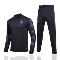 Wholesale High Quality Men S Suits - TOP THAI QUALITY 2017 2018 Madrid adult High collar soccer jersey tracksuit kits 2017-2018 Madrid High collar football training suit set