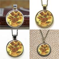 Wholesale Vincent Wholesale - 10pcs Vincent Van Gogh Yellow Sunflowers Necklace keyring bookmark cufflink earring bracelet