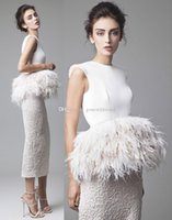 Wholesale Ostrich Feather Wedding Gowns - tea length ostrich feather overskirt wedding dresses 2017 Krikor Jabotian outfits jewel neckline sheath wedding gowns