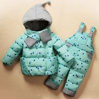 Wholesale Baby Girls Snowsuits - 2017 Winter Children's Clothing Set Kids Ski Suit Overalls Baby Girls Down Coat Warm Snowsuits Jackets+bib Pants 2pcs set MDC004
