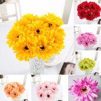 gerbera sonnenblumenstrauß großhandel-Startseite Seide Gerbera Daisy Blume Hochzeit Garten Dekoration Künstliche Sonnenblume African Bouquet Pflanzen Room Decor