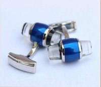 Wholesale Cuff Links Gift Box - MB40 Wholesale MB Cufflinks for Man Blue Crystal Star Branding Sleeve Buttons Silver Branded Cuff Links for Man with Gift Box