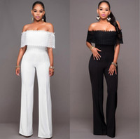 Wholesale Hot Rompers Jumpsuits for women Sexy women Lace Elegant Off Shouder Bodysuit Outfits Long Pants