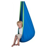 Wholesale Children Outdoor Swing - Wholesale- Kid Hammock cocoon Baby Pod Swing Child Hanging Seat Chair Cotton Fabric+PVC Inflatable Cushion Garden Furniture Outdoor Hammock