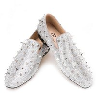 Wholesale Diamond Silver Heels For Wedding - 2017 new Luxury Gold or Silver Spikes and Diamonds Men's Glitter Leather Loafers Suitable for Banquet and Wedding