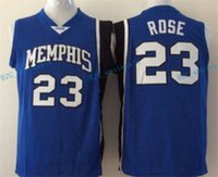 Wholesale Rose Shirts - Best Quality 23 Derrick Rose College Jerseys Memphis Tigers Shirt Uniform Rev 30 New Material Team Color Blue Fashion Pure Cotton Breathable