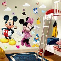 venta al por mayor de la decoración de la pared de la historieta al por mayor-Las etiquetas engomadas al por mayor de la historieta 3D Mickey y de Minnie embroma la decoración casera del hogar de las etiquetas del dormitorio del cuarto de niños del bebé el pequeño príncipe embroma el regalo *
